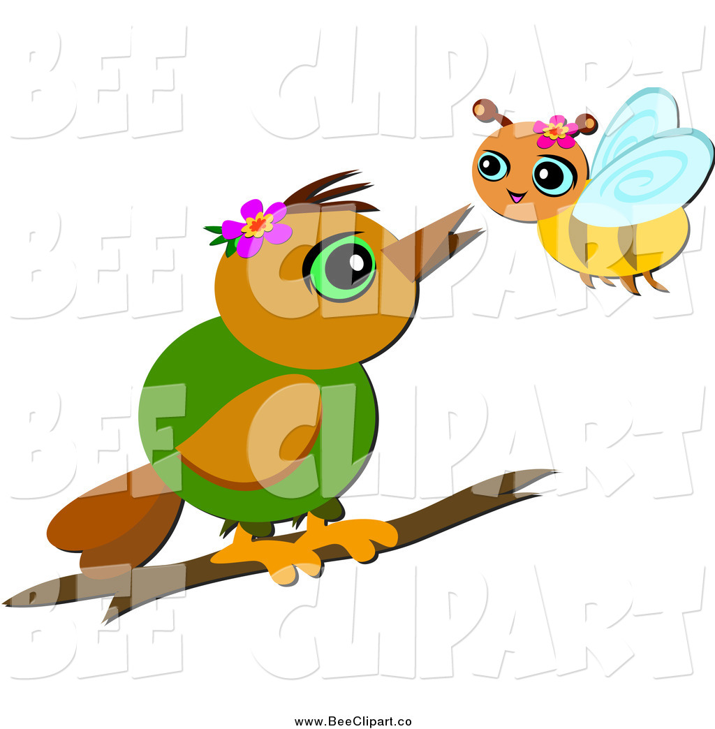 cartoon vector clip art of a bird and bee talking by bpearth 844