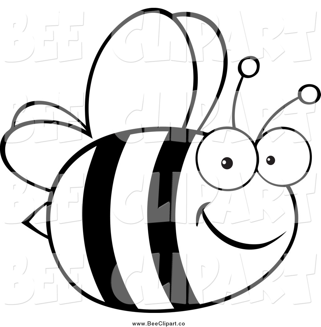 Free Bee Clipart Black And White Black And White Happy Bee