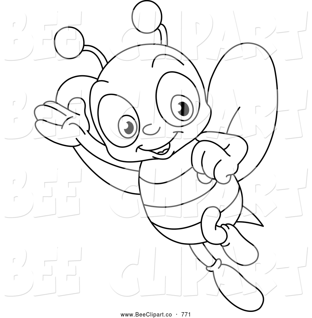 Cartoon Vector Clip Art Of A Coloring Page Happy Bee