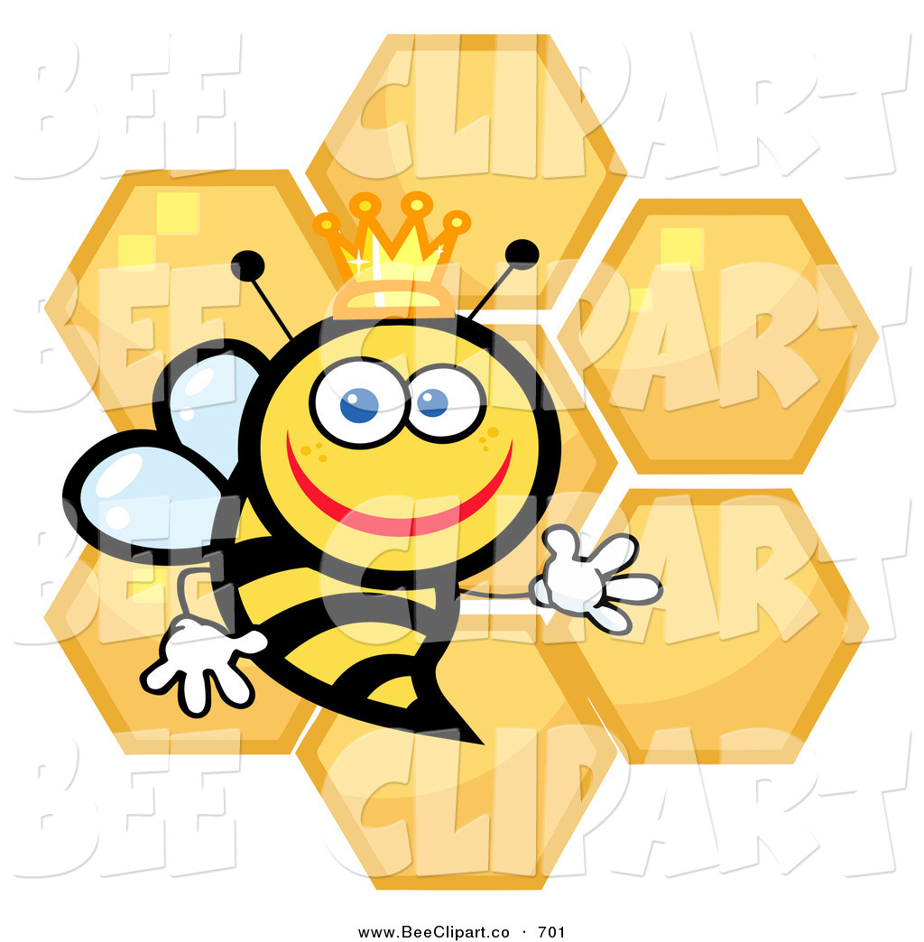 cartoon vector clip art of a happy queen bee with honey combs on