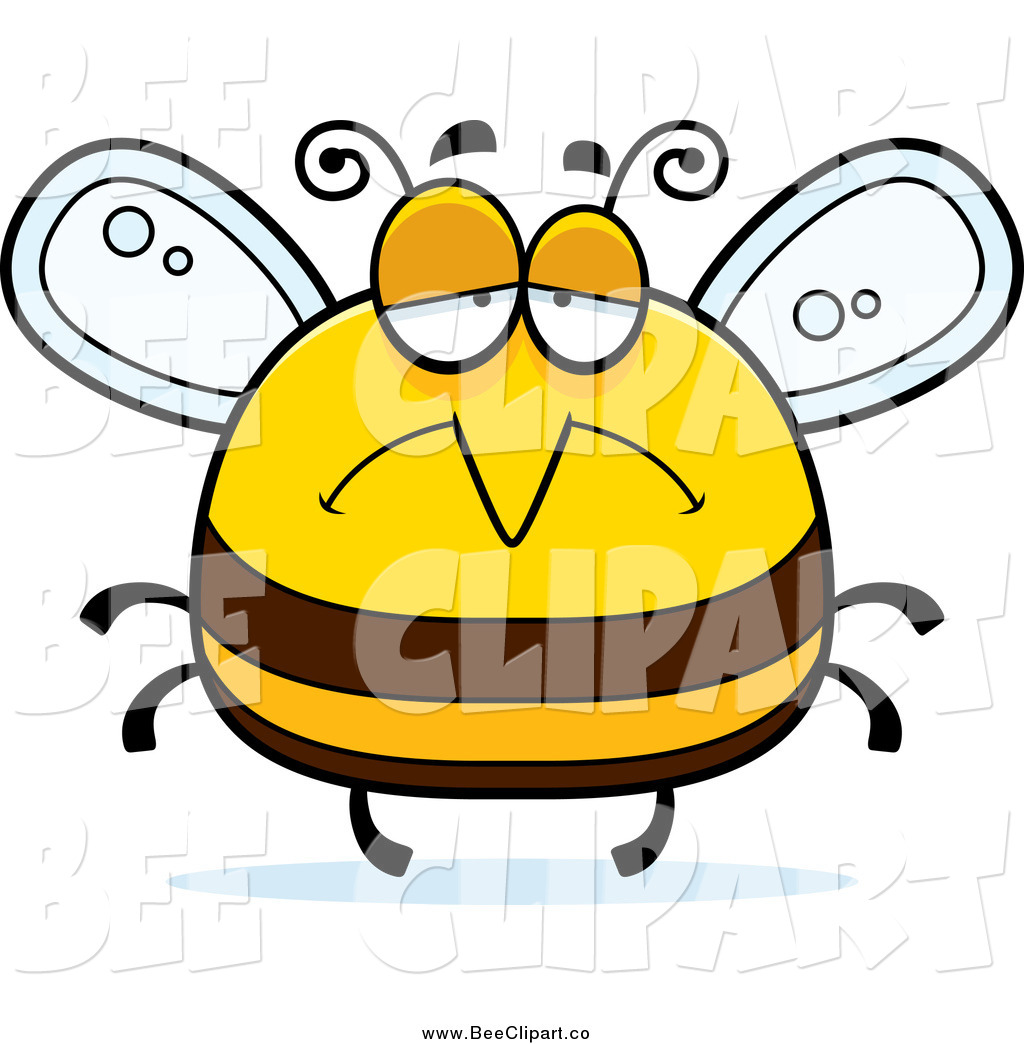 cartoon vector clip art of a pudgy depressed sad bee by cory