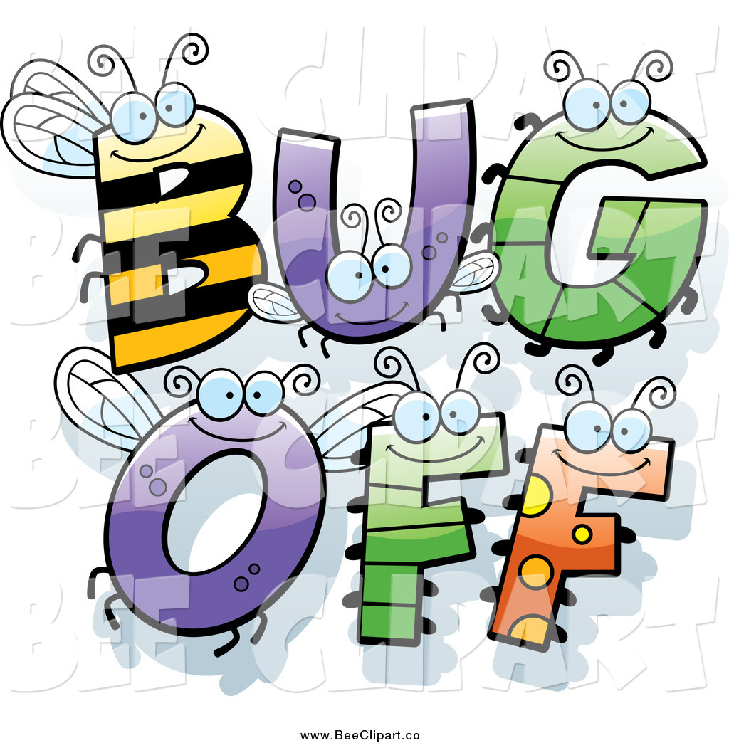 cartoon vector clip art of insect letters spelling bug off by cory