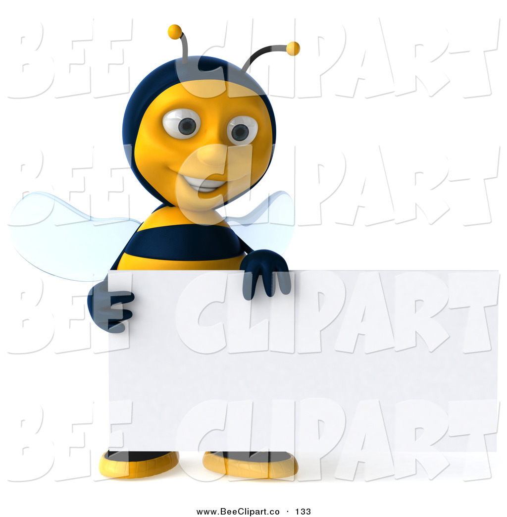 Clip Art of a 3d Happy Bee Character Smiling and Holding a Blank ...