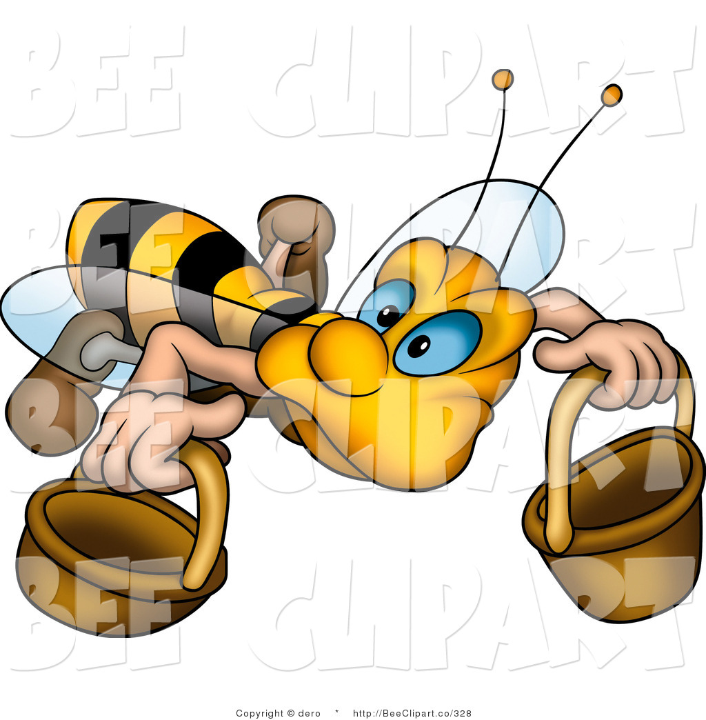Sketched Worker Bee Flying With A Round Gift Box Over