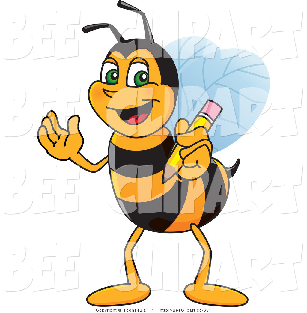 Clip Art of a Worker Bumble Bee Character Mascot Holding a Pencil ...