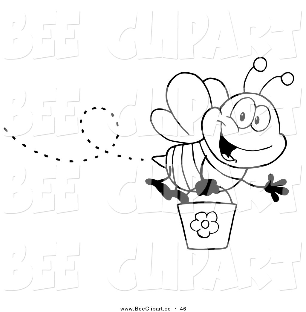 Free Bee Clipart Black And White Black And White Honey Bee