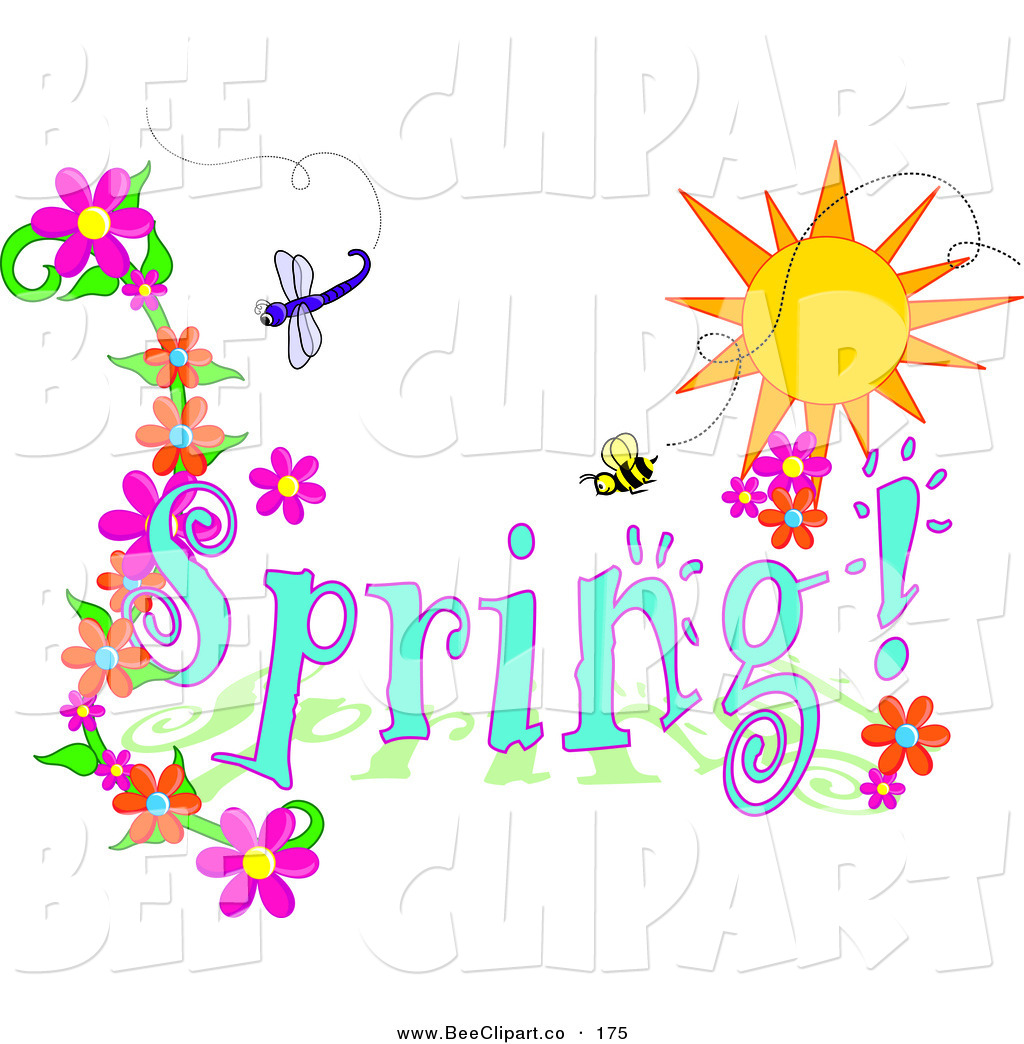 Vector Clip Art Of A Blue Spring Time Greeting With Dragonfly Bee And Flowers