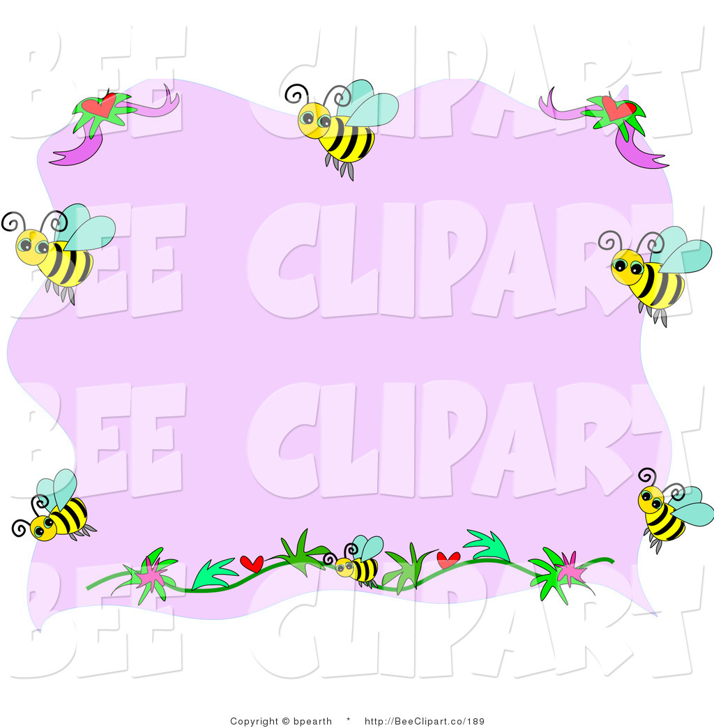 Purple flowers clip art border cliparts co - Border Of Bees And Flowers With Pink Copyspace