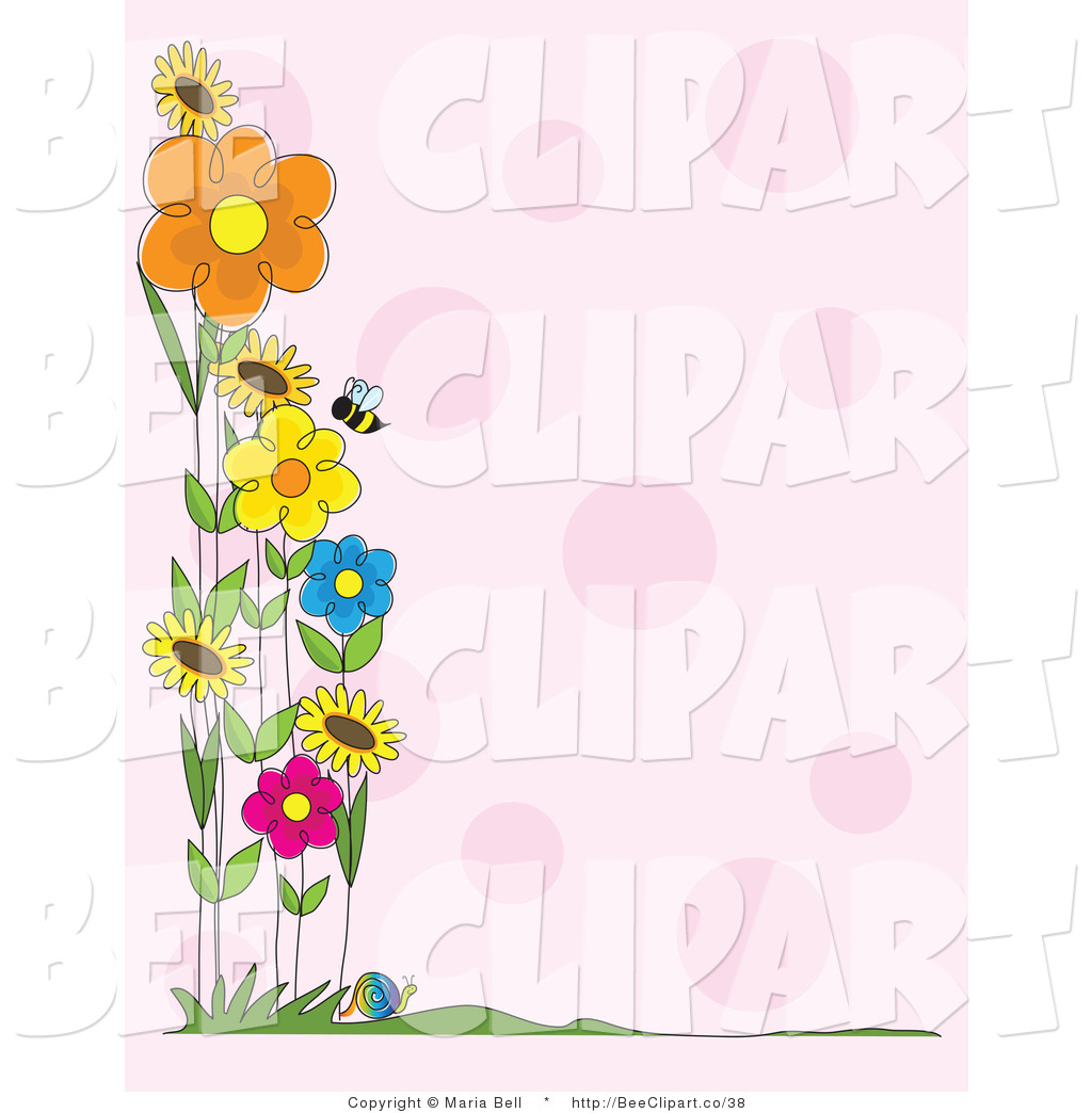 Purple flowers clip art border cliparts co - Buzzing Honey Bee Flying Near A Patch Of Colorful Spring Flowers Along The Border Of A Pink Background