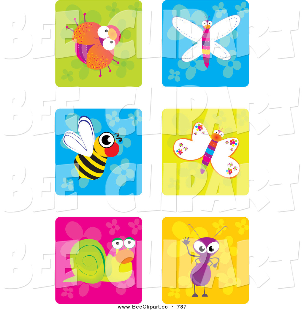 Vector Clip Art of a Digital Collage of Cute Insect Icons on ...