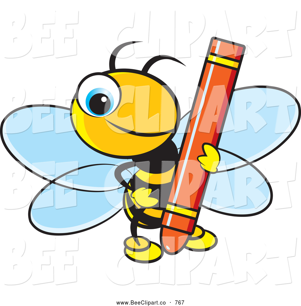 vector clip art of a smiling cute bee holding a red crayon by lal rh beeclipart co Brown Crayon Clip Art Clip Art Purple Crayon
