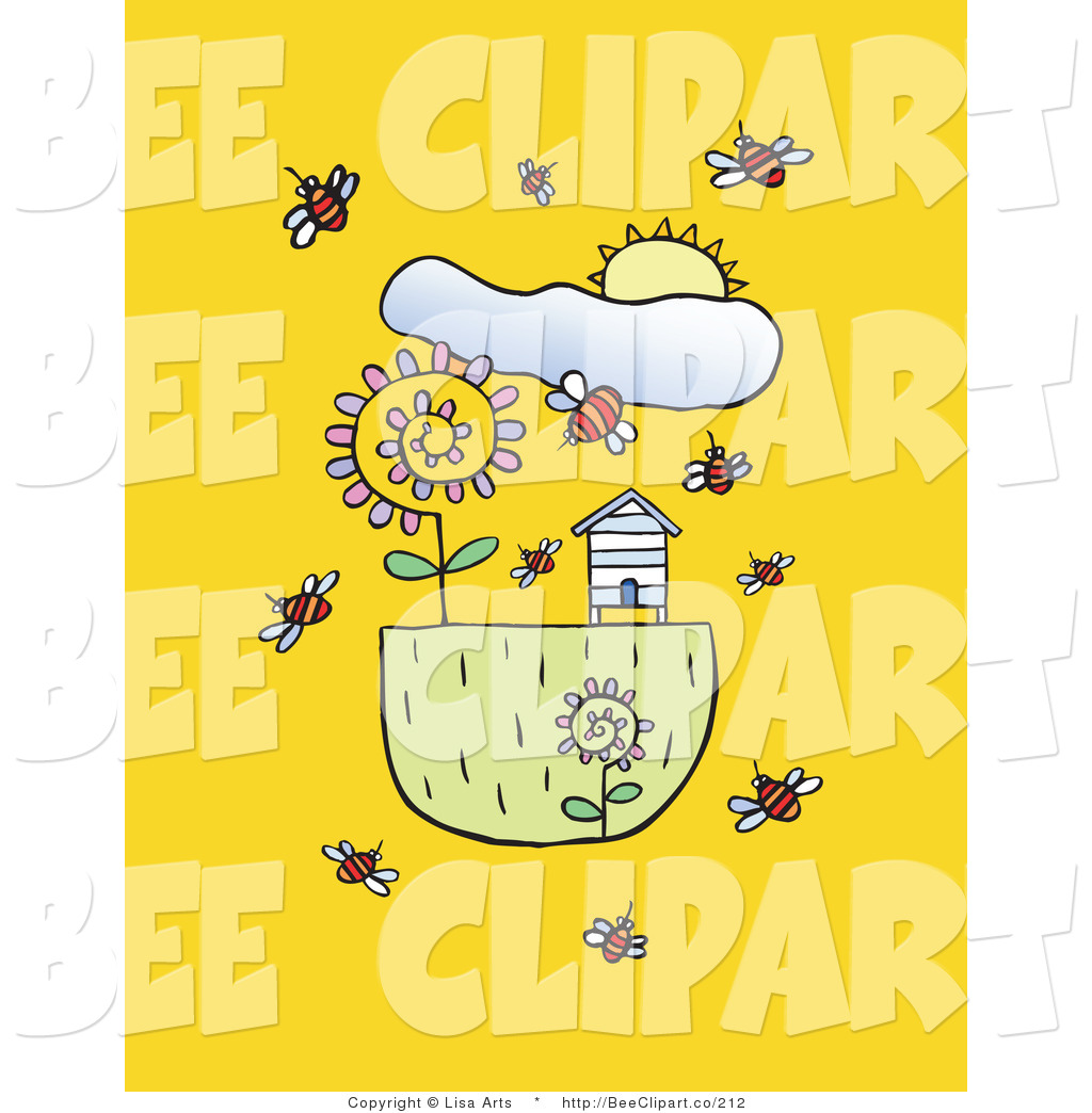 Vector Clip Art Of A Spring Sun Over Bees Flying Around Flowers And Bee House