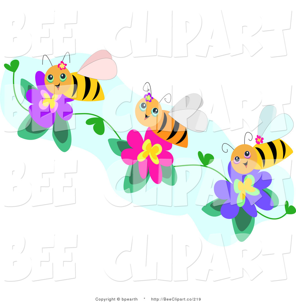 Purple flowers clip art border cliparts co - Three Happy Honey Bees Collecting Pollen From Purple And Pink Flowers