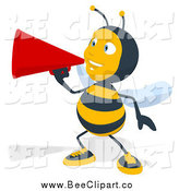 Cartoon Clip Art of a Bee Announcing with a Megaphone by Julos