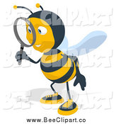 Cartoon Clip Art of a Bee Facing Left and Using a Magnifying Glass by Julos