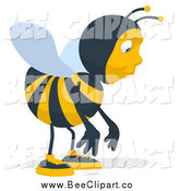 Cartoon Clip Art of a Bee Facing Right and Pouting by Julos