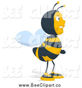 Cartoon Clip Art of a Bee Facing Right by Julos