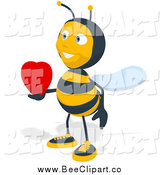 Cartoon Clip Art of a Bee Holding a Heart out by Julos
