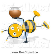 Cartoon Clip Art of a Bee Holding a Honey Jar and Doing a Cartwheel by Julos