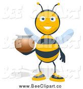 Cartoon Clip Art of a Bee Holding a Honey Jar by Julos