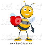 Cartoon Clip Art of a Bee Holding a Red Heart by Julos