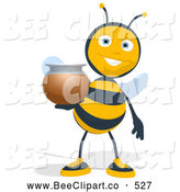 Cartoon Clip Art of a Bee Holding out a Honey Jar by Julos