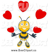 Cartoon Clip Art of a Bee Juggling Hearts by Julos