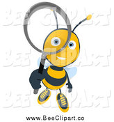 Cartoon Clip Art of a Bee Looking up Through a Magnifying Glass by Julos