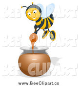 Cartoon Clip Art of a Bee Mixing Honey by Julos