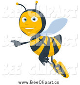 Cartoon Clip Art of a Bee Pointing by Julos