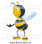 Cartoon Clip Art of a Bee Presenting to the Left by Julos