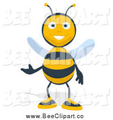 Cartoon Clip Art of a Bee Presenting with One Hand by Julos