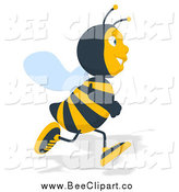 February 28th, 2014: Cartoon Clip Art of a Bee Running by Julos
