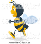 Cartoon Clip Art of a Bee Running to the Left by Julos