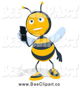 Cartoon Clip Art of a Bee Talking on a Mobile Phone by Julos