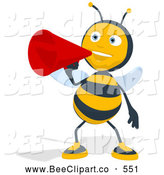 Cartoon Clip Art of a Bee Talking Through a Megaphone by Julos