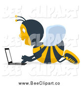 Cartoon Clip Art of a Bee Using a Lapotp on the Floor by Julos