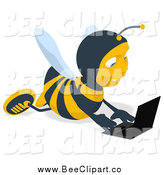 Cartoon Clip Art of a Bee Using a Laptop on the Floor by Julos
