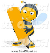 Cartoon Clip Art of a Bee Writing by Julos