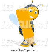 Cartoon Clip Art of a Bee Writing with a Giant Pencil by Julos