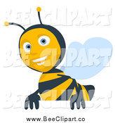 Cartoon Clip Art of a Cartoon Bee Smiling over a Sign by Julos
