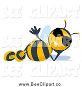 Cartoon Clip Art of a Cartoon Bee Wearing Sunglasses and Reclining by Julos