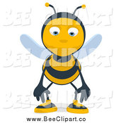 Cartoon Clip Art of a Cartoon Sad Bee by Julos