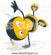 Cartoon Clip Art of a Cartwheeling Happy Bee by Julos