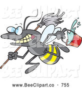 Cartoon Clip Art of a Crazy Cartoon Busy Janitorial Bee by Toonaday