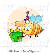 Cartoon Clip Art of a Grinning Yellow Honey Bee with a Stinger, Wearing a Pink Party Hat and Carrying a Green and Yellow Birthday Present to a Bday Party by Hit Toon