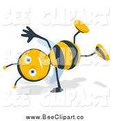Cartoon Clip Art of a Happy Bee Doing a Cartwheel by Julos