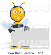 Cartoon Clip Art of a Happy Bee Holding a Blank Business Card by Julos