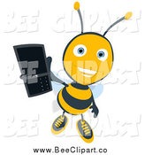 December 26th, 2014: Cartoon Clip Art of a Happy Bee Holding up a Mobile Phone by Julos