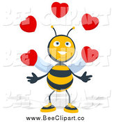 Cartoon Clip Art of a Happy Bee Juggling Hearts by Julos